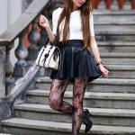 2020 Etek Bluz Kombinleri Siyah Mini Kloş Etek Beyaz Yetim Kol Bluz Siyah Topuklu Ayakkabı