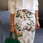 2020 Etek Bluz Kombinleri beyaz Desenli Midi Etek Uzun Kollu Bluz Topuklu Ayakkabı