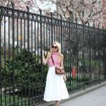 2020 Etek Kombinleri Beyaz Midi Kloş Etek Pembe Ekose Desenli Kolsuz BLuz Beyaz Stiletto Ayakkabı