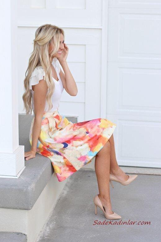 2020 Etek Kombinleri Krem Desenli Midi Etek Beyaz Bluz Vizon Stiletto Ayakkabı