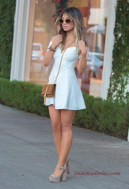 2020 Sokak Modasının En Şık Bahar Kombinleri Beyaz Mini Omzu Açık Kısa Kollu Elbise Gri Topuklu Ayakkabı Taba Omuz Çantası