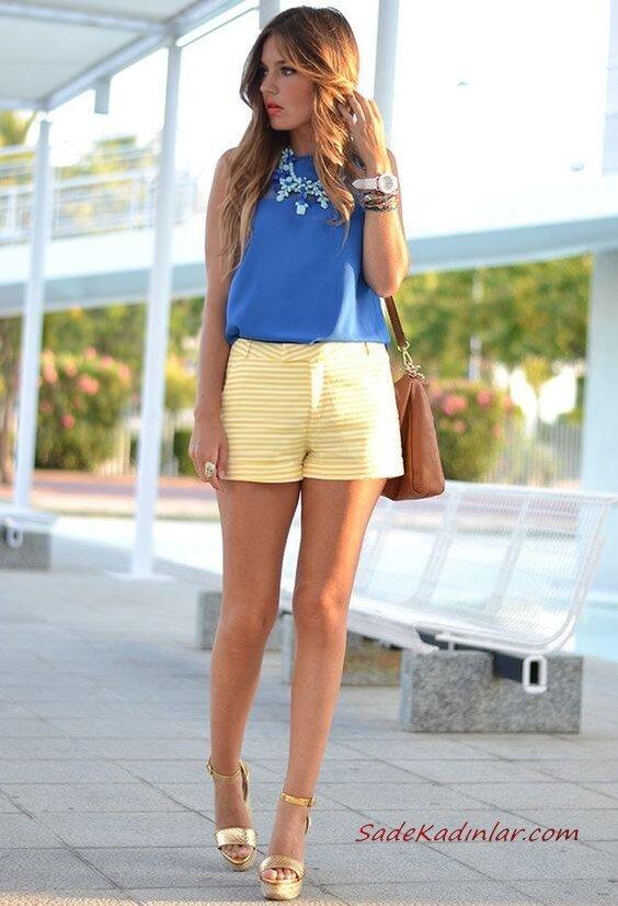 2020 Sokak Modasının En Şık Bahar Kombinleri Sarı Şort Mavi Kolsuz Bluz Gold Dolgu Topuk Ayakkabı Taba Omuz Çantası