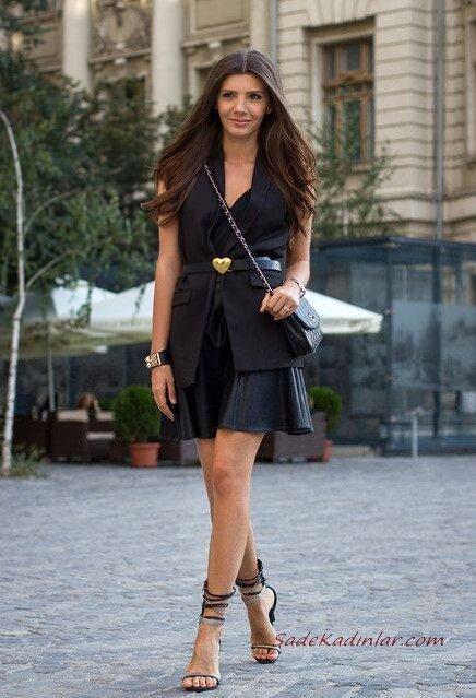 2020 Sokak Modasının En Şık Bahar Kombinleri Siyah Mini Askılı Elbise Yelek Topuklu Ayakkabı Omuz Çantası