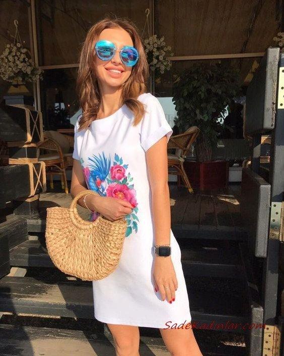 2020 Yazlık Kombinler Beyaz Mini Kısa Kollu Çiçek Baskılı Elbise
