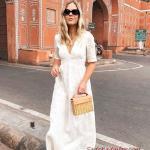 2020 Yazlık Kombinler Beyaz Uzun Kısa Kollu V Yakalı Elbise Taba Rengi Sandalet Ayakkabı