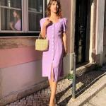 2020 Yazlık Kombinler Lila Midi Kısa Kollu Düğmeli Elbise Krem Topuklu Ayakkabı