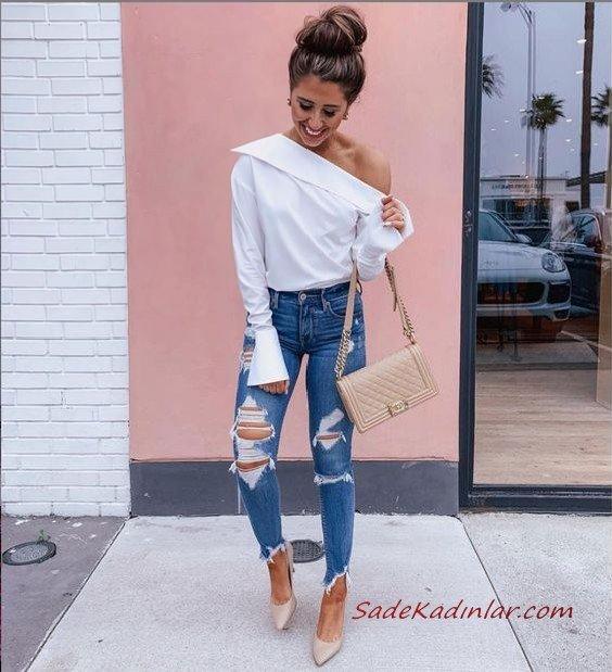 2020 Yazlık Kombinler Mavi Yırtık Kot Pantolon Beyaz Omuz Açık Bluz Krem Stiletto Ayakkabı