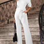 2020 Abiye Tulum Modelleri Beyaz Omzu Açık Yetim Kollu Cepli