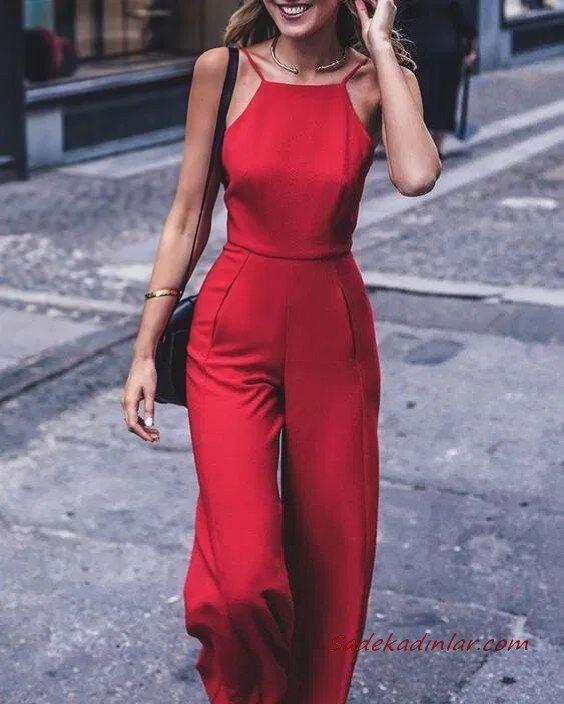 2020 Abiye Tulum Modelleri Kırmızı İp Askılı Bol Kesim Pantolon
