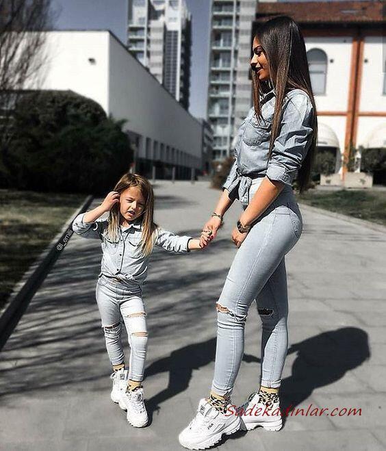 2020 Anne Kız Kombinleri Gri Pantolon Gömlek Beyaz Spor Ayakkabı