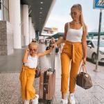 2020 Anne Kız Kombinleri Sarı Pantolon Beyaz Askılı Bluz Spor Ayakkabı