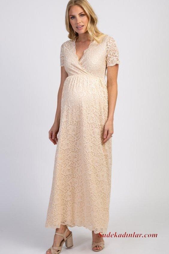 2020 Baby Shower Abiye Elbise Modelleri Krem Uzun Kısa Kollu V Yakalı Dantel