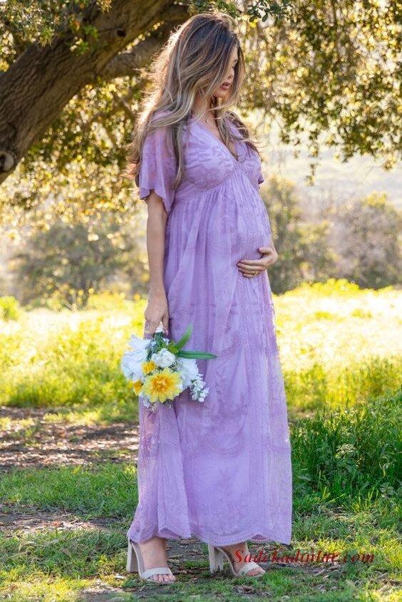 2020 Baby Shower Abiye Elbise Modelleri Lila Uzun Kısa Kollu V Yakalı Nakış İşlemeli