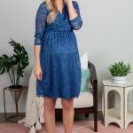 2020 Baby Shower Abiye Elbise Modelleri Mavi Mini Uzun Kollu V Yakalı Dantel