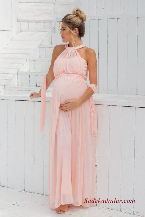 2020 Baby Shower Abiye Elbise Modelleri Pembe Uzun Halter Yaka Tül Etekli