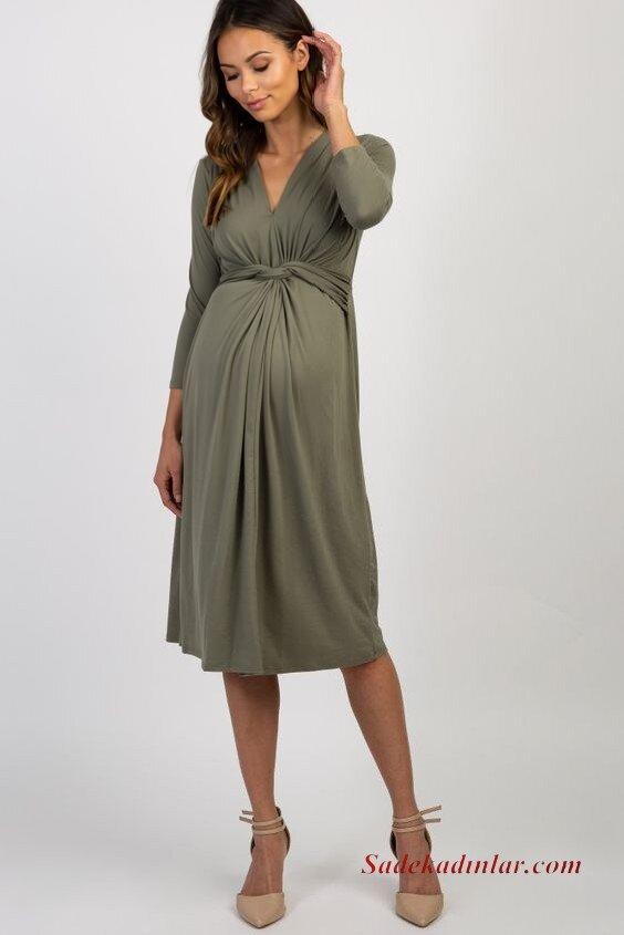 2020 Baby Shower Abiye Elbise Modelleri Yeşil Midi Uzun Kollu V Yakalı