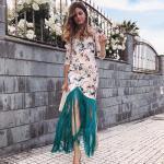 2020 Düğün Elbise Modelleri Krem Mini Uzun Kollu Desenli Püsküllü