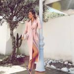 2020 Düğün Elbise Modelleri Pembe Midi Uzun Kollu V Yakalı Yırtmaçlı