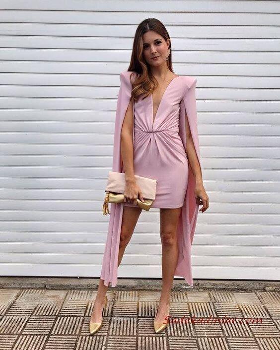 2020 Düğün Elbise Modelleri Pembe Mini Yırtmaçlı Kollu V Yakalı