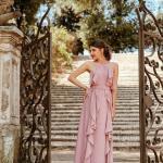 2020 Düğün Elbise Modelleri Pudra Uzun Boyundan Askılı Fırfır Detaylı