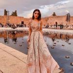2020 Düğün Elbise Modelleri Vizon Uzun Askılı V Yakalı Desenli