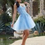 2020 Gece Elbise Modelleri Bebek Mavisi Mini Askılı V Yakalı Taşlı
