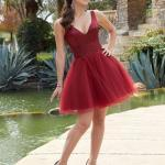 2020 Gece Elbise Modelleri Bordo Mini Askılı V Yakalı Tül Kloş Etekli