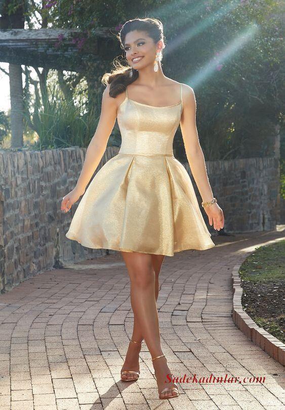 2020 Gece Elbise Modelleri Gold Mini İp Askılı Kloş Etekli