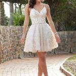 2020 Gece Elbise Modelleri Krem Mini Askılı Kloş Etekli Desenli