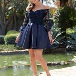 2020 Gece Elbise Modelleri Lacivert Mini Omzu Açık Uzun Kollu Dantel