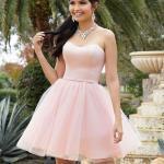 2020 Gece Elbise Modelleri Pembe Mini Straplez Kloş Tül Etekli