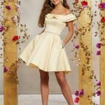 2020 Gece Elbise Modelleri Sarı Mini Omzu Açık Fırfırlı Yakalı Kloş Etekli