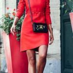 2020 Günlük Kombinler Kırmızı Mini Uzun Kollu Elbise Siyah Topuklu Bot