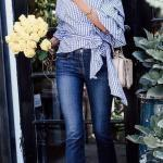 2020 Günlük Kombinler Lacivert Pantolon Mavi Ekose Desenli Gömlek Beyaz Topuklu Ayakkabı