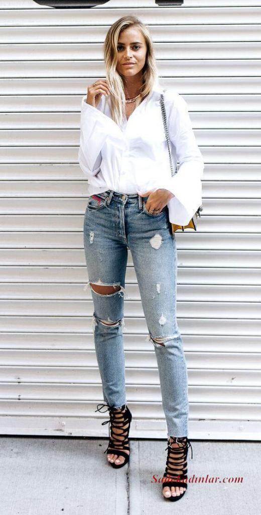 2020 Günlük Kombinler Mavi Kot Pantolon Beyaz Salaş Gömlek Siyah Stiletto Ayakkabı