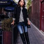 2020 Kış Kombinleri Mavi Kot PAntolon Siyah Çizgili Kazak Mont Uzun Deri Topuklu Çizme