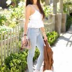 2020 Pantolon Kombinleri Gri PAntolon Beyaz Askılı Bluz Topuklu Ayakkabı