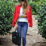 2020 Pantolon Kombinleri Lacivert Kot Pantolon Beyaz Bluz Nar Çiçeği Ceket Siyah Kısa Topuklu Bot