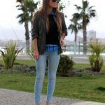 2020 Pantolon Kombinleri Mavi Kot Pantolon Gömlek Siyah Kazak Deri Ceket Sarı Stiletto Ayakkabı