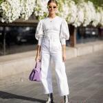 2020 Beyaz Pantolon Kombinleri Beyaz Bol Pantolon Balon Kollu Gömlek Desenli Topuklu Bot