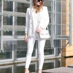 2020 Beyaz Pantolon Kombinleri Beyaz Dar Pantolon Bluz Uzun Ceket Vizon Stiletto Ayakkabı