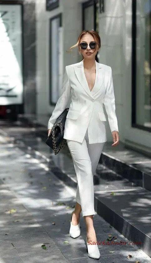 2020 Beyaz Pantolon Kombinleri Beyaz Kalem Pantolon Uzun Ceket Topuklu Ayakkabı