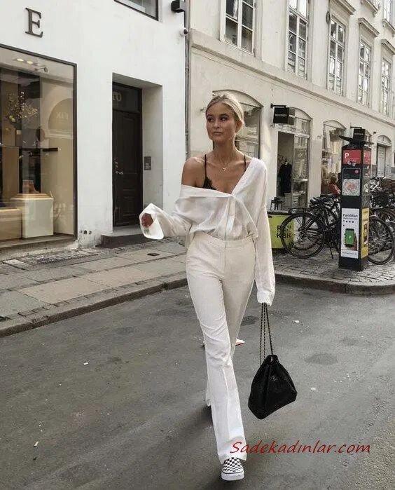 2020 Beyaz Pantolon Kombinleri Beyaz Pantolon Omuz Dekolteli Gömlek Pöti Kareli Babet Ayakkabı