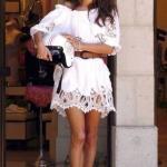 2020 Dantel Elbise Modelleri Beyaz Mibi Balon Kısa Kollu Omuz Açık Dantel