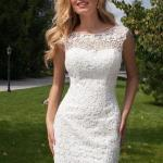 2020 Dantel Elbise Modelleri Beyaz Mini Kolsuz Kayık Yakalı Dantel