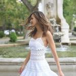 2020 Dantel Elbise Modelleri Beyaz Mini İp Askılı Kloş Etekli