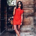 2020 Dantel Elbise Modelleri Kırmızı Mini Japone Kollu Kapalı Yakalı