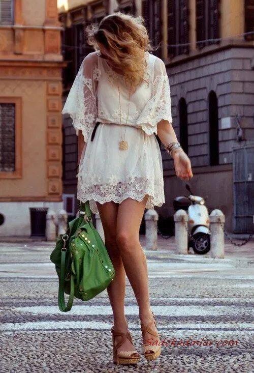 2020 Dantel Elbise Modelleri Krem Mini Kısa Kollu Kemerli