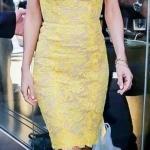 2020 Dantel Elbise Modelleri Sarı Mini Japone Kollu Kalp Yakalı Dantel