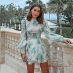 2020 Dantel Elbise Modelleri Yeşil Mini Uzun Balon Kollu Desenli Dantel